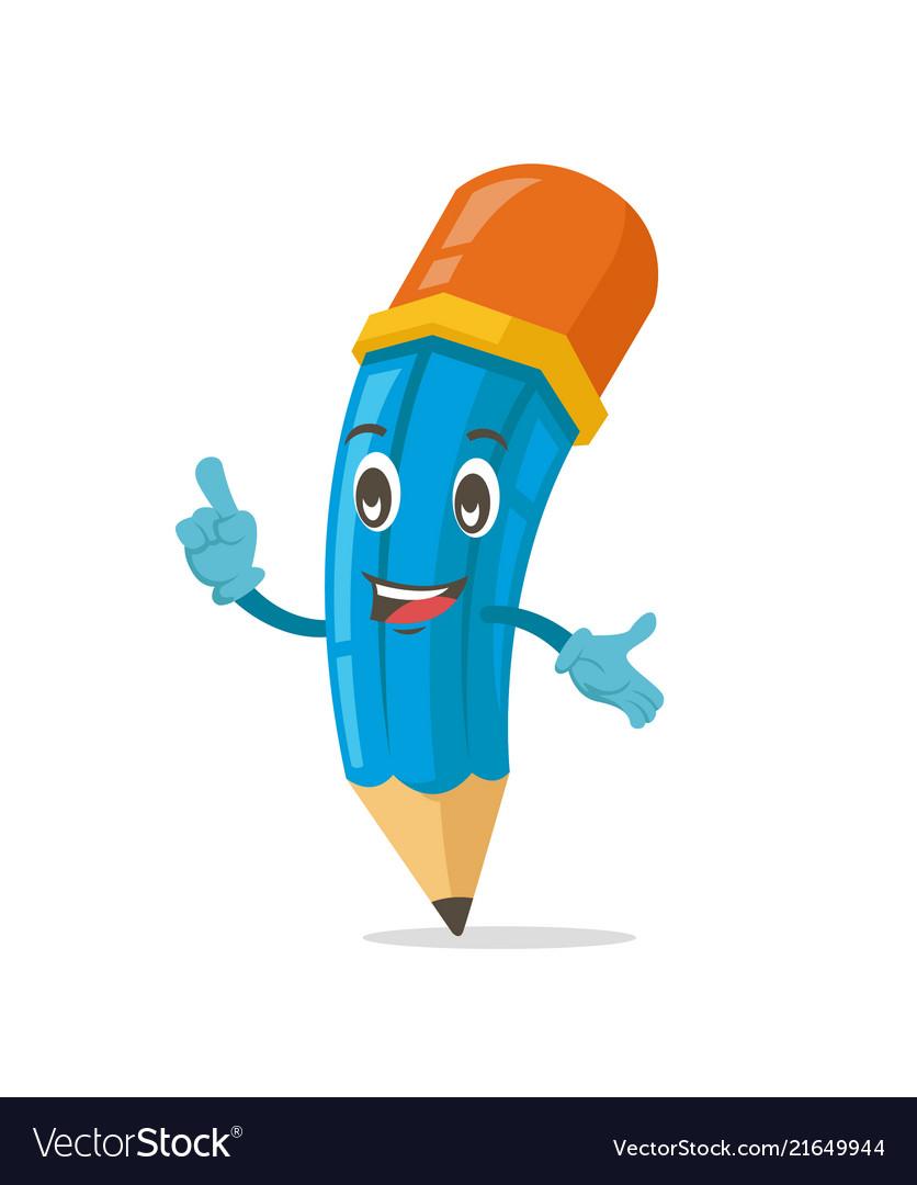 Blue cute pencil mascot character