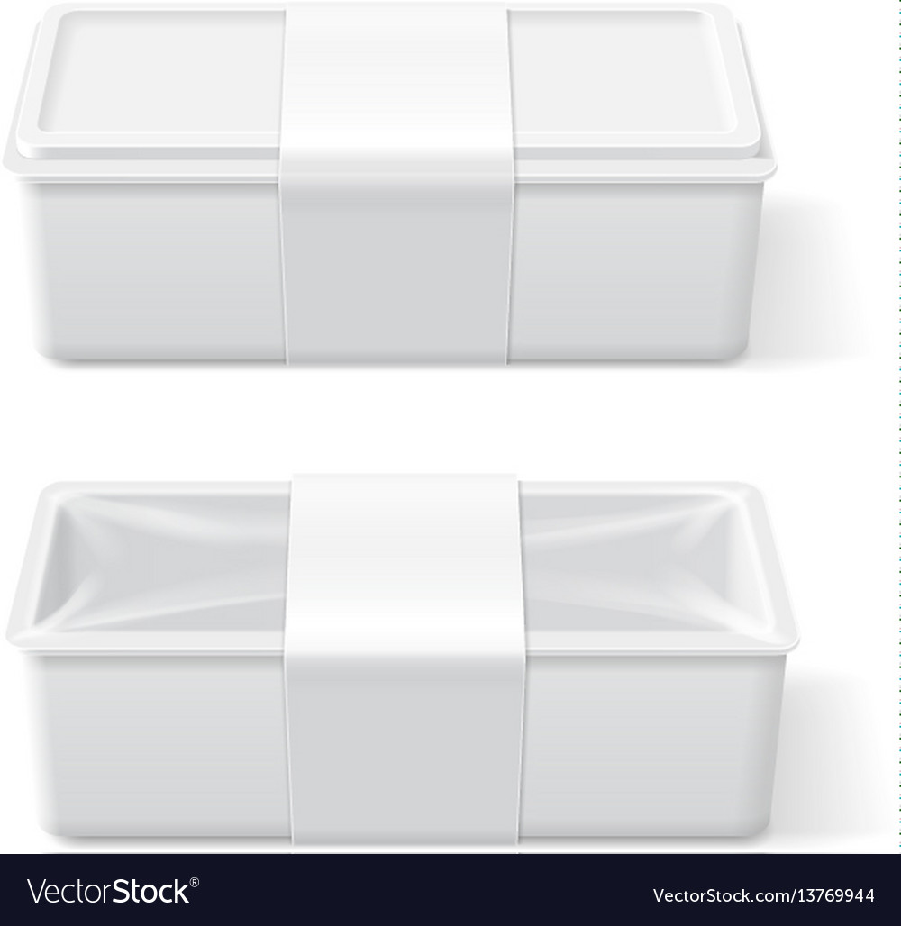 Empty white plastic food container vector image
