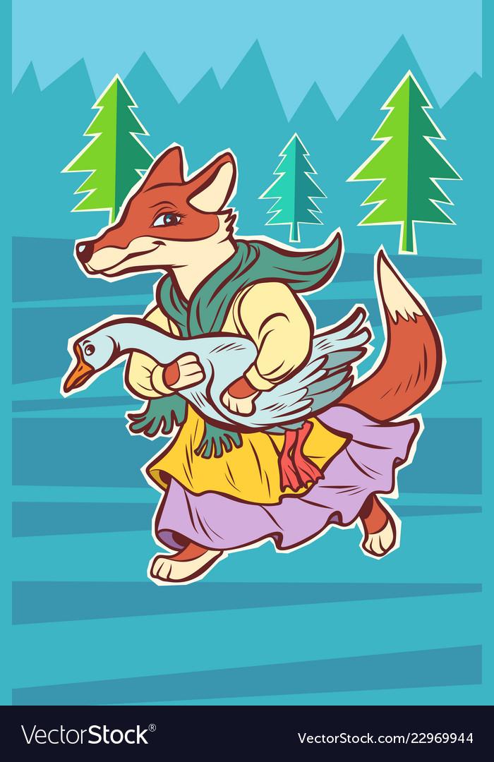 Fox steals goose bird fairytale character