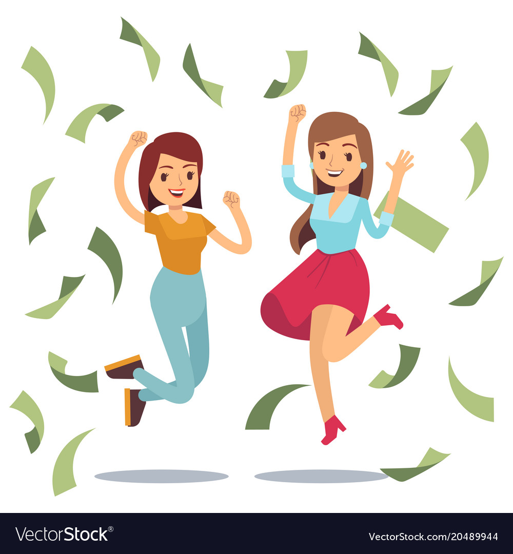 Happy successful housewifes in money rain happy
