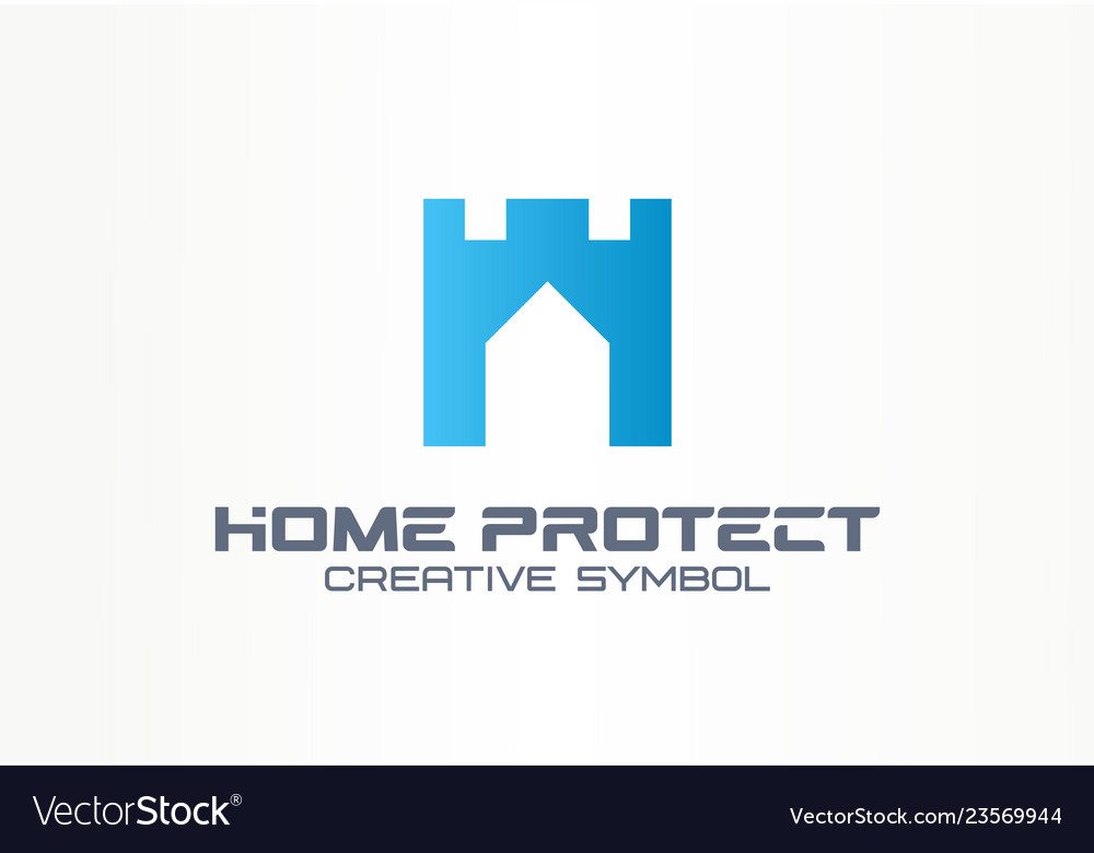 Home protect creative security symbol building