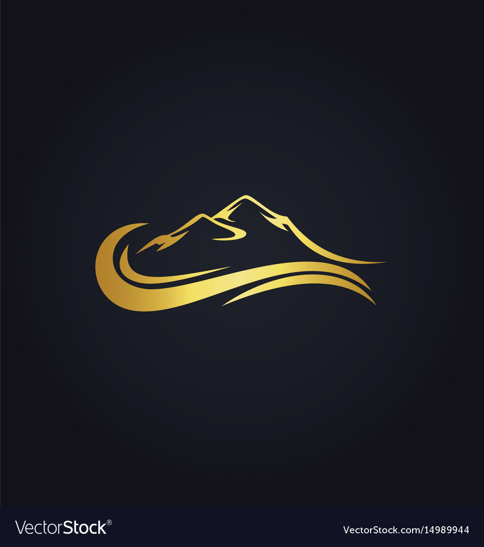 Mountain water abstract gold logo