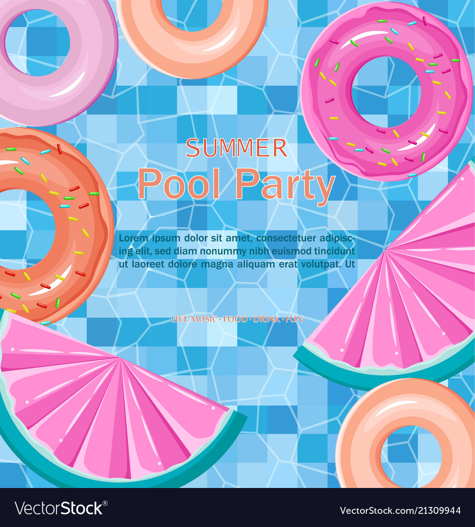 Pool floating toys summer card background