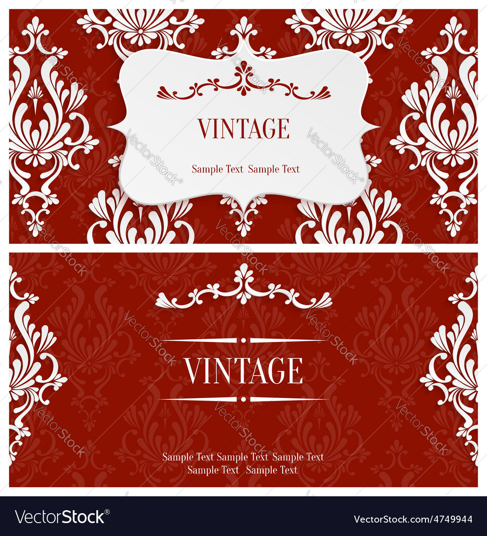 Red 4d vintage invitation template Royalty Free Vector Image