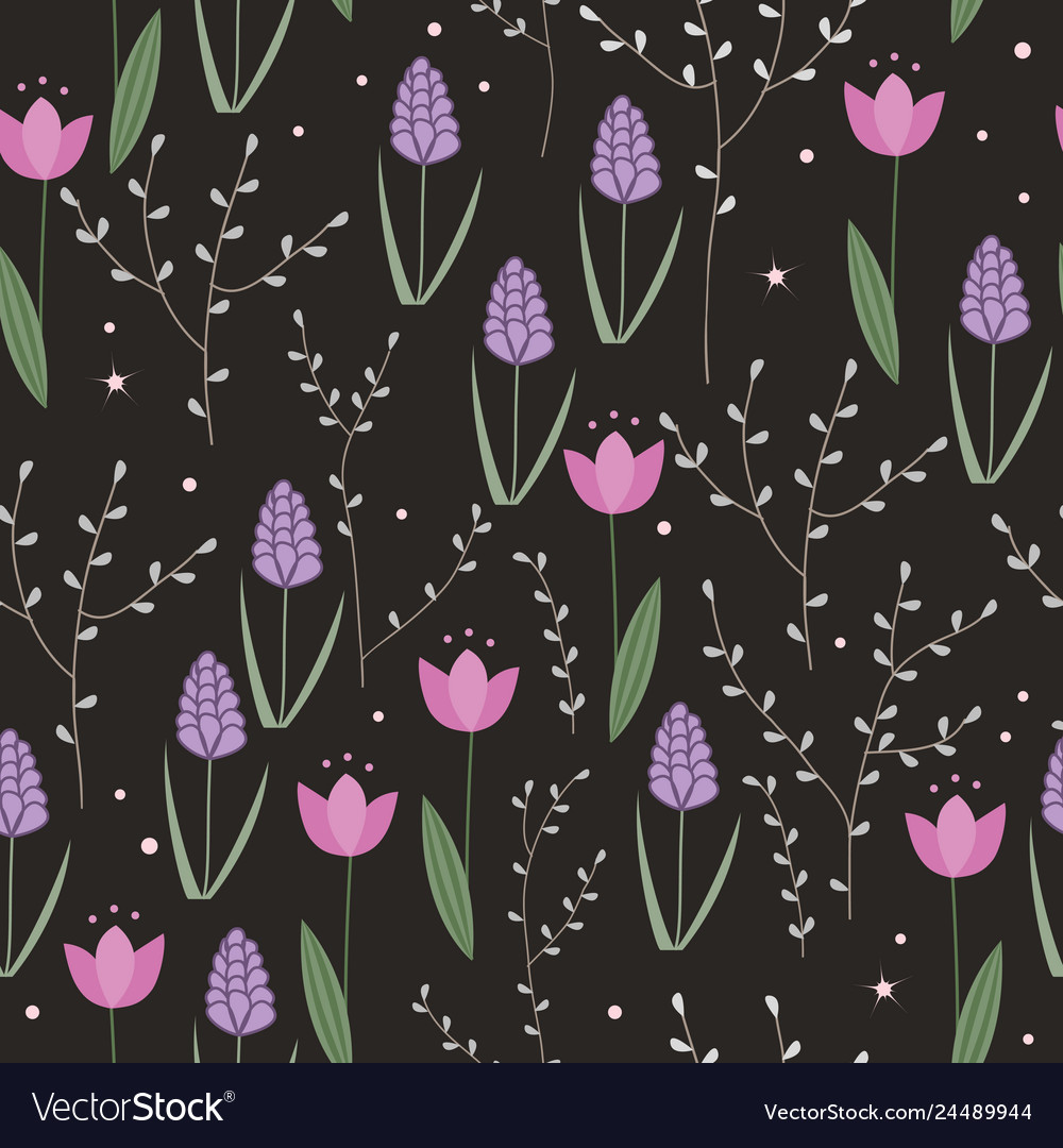 Seamless floral pattern with doodle hyacinths