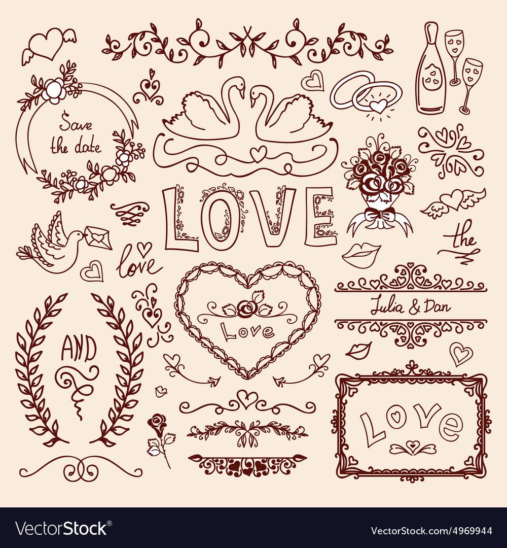 Set of wedding decorative elements royalty free vector image set of wedding decorative elements vector image junglespirit Choice Image