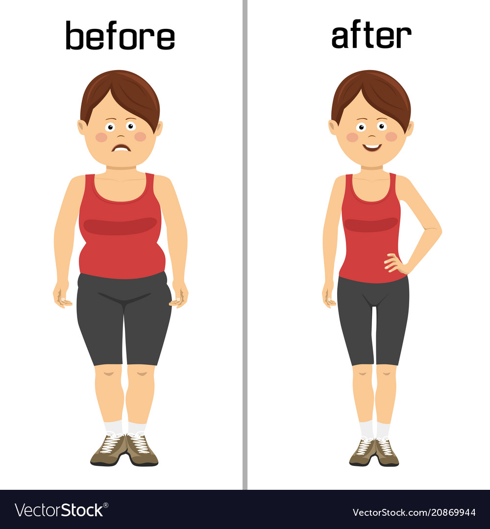 Womans body before and after weight loss