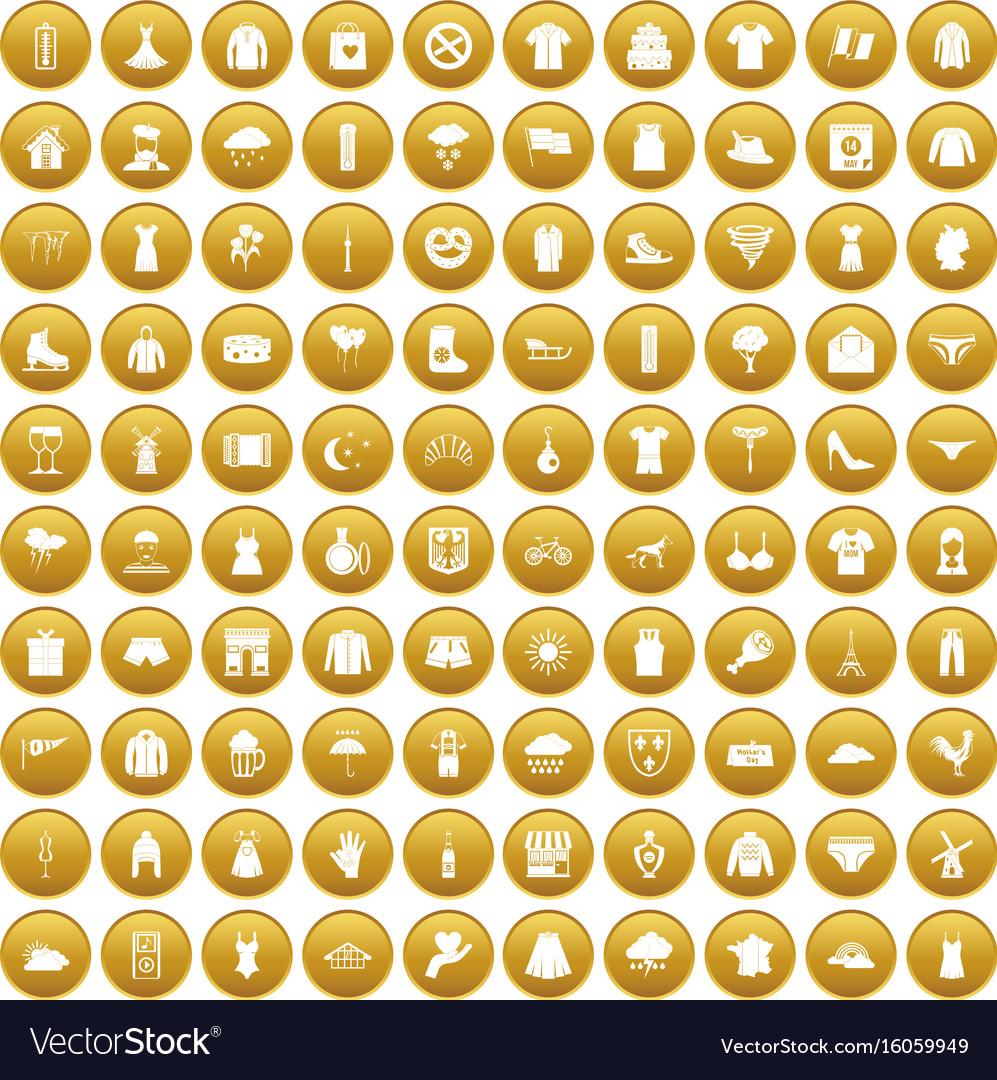 100 clothing icons set gold