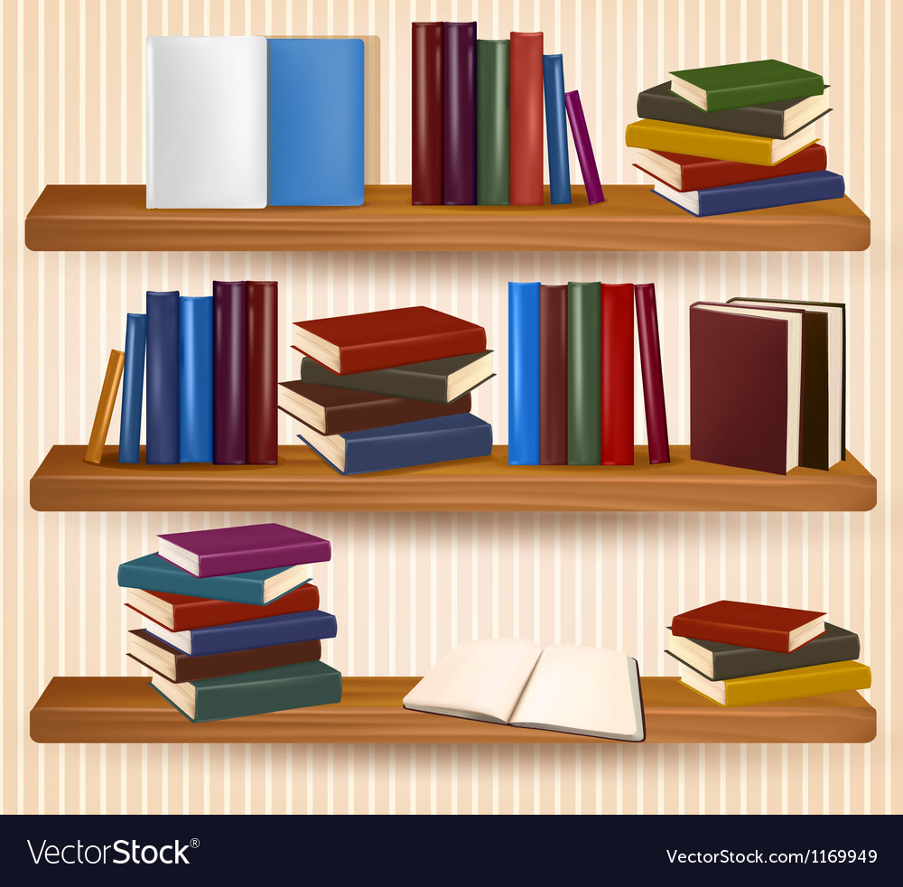 Bookshelf with colorful books and clock Royalty Free Vector