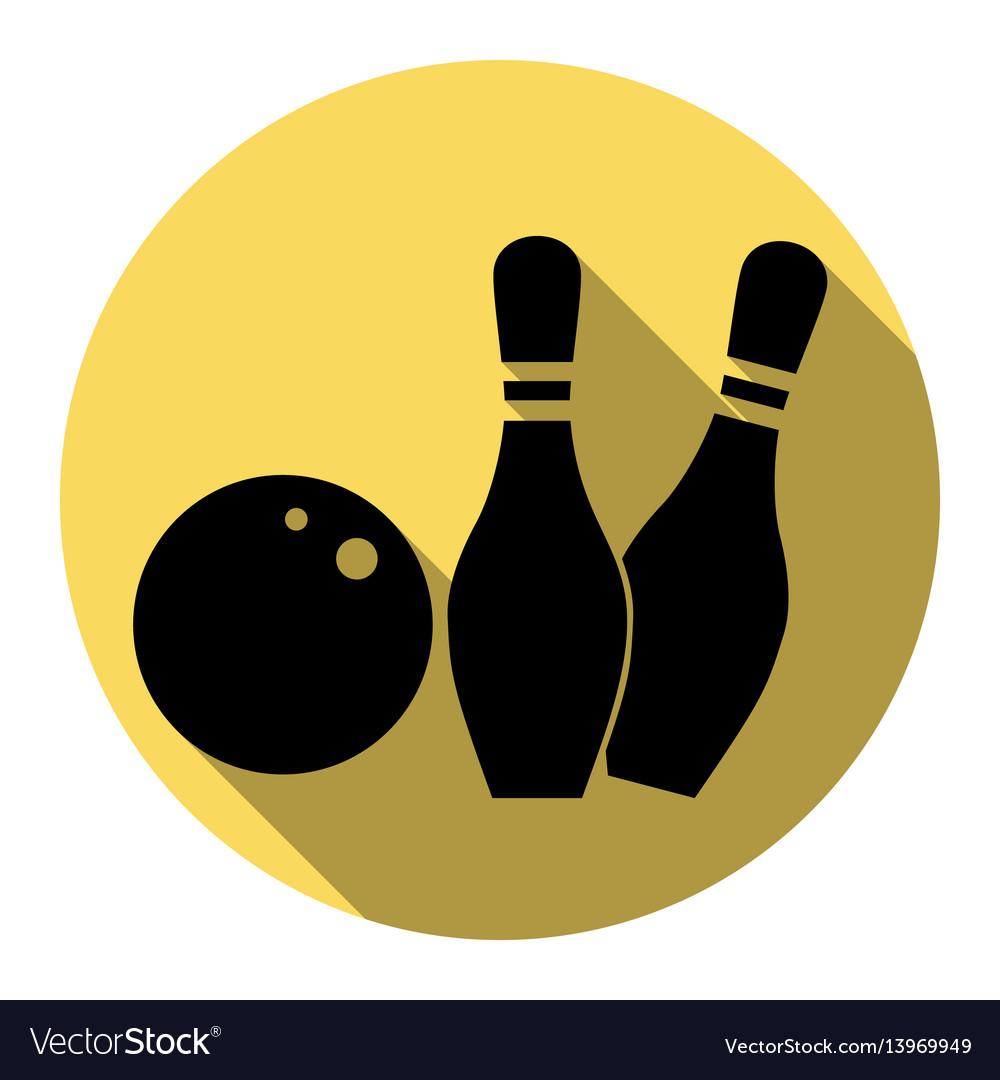 Bowling sign flat black icon