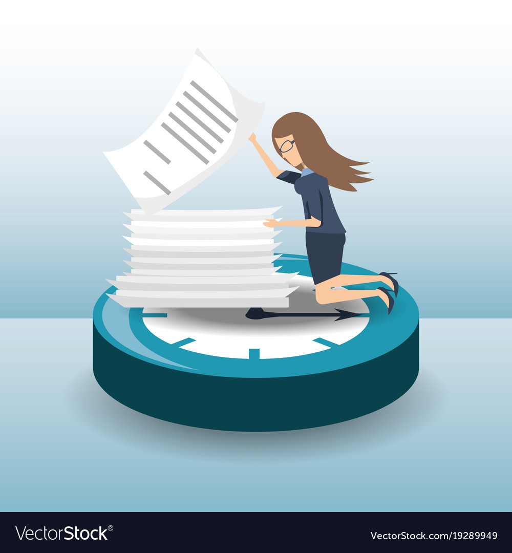 Business woman hard working time pressure