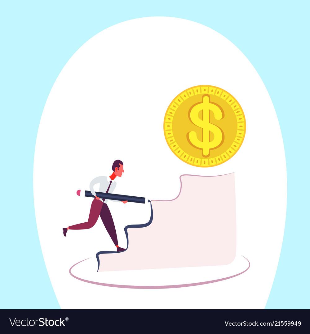 Businessman pave the way climbing podium dollar
