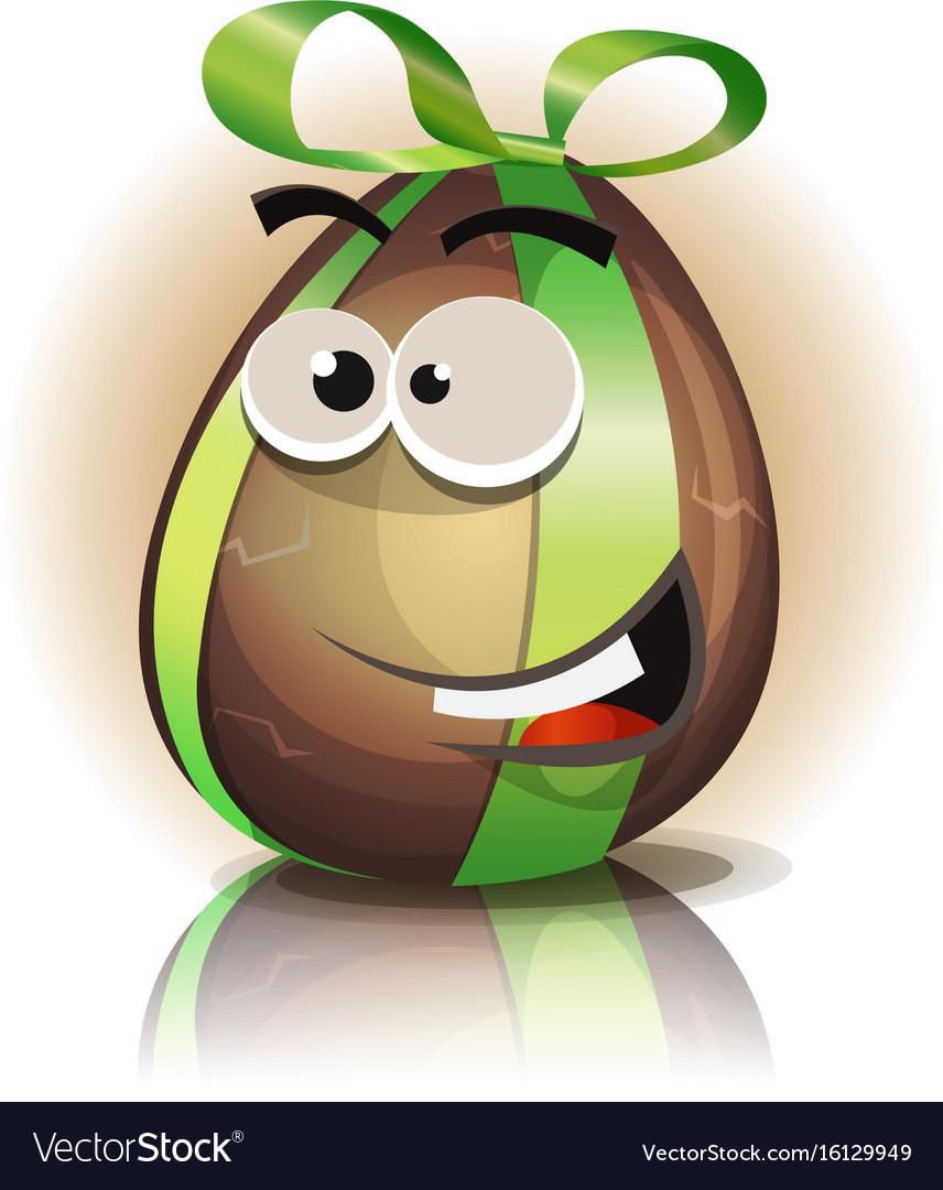 Cartoon chocolate easter egg character