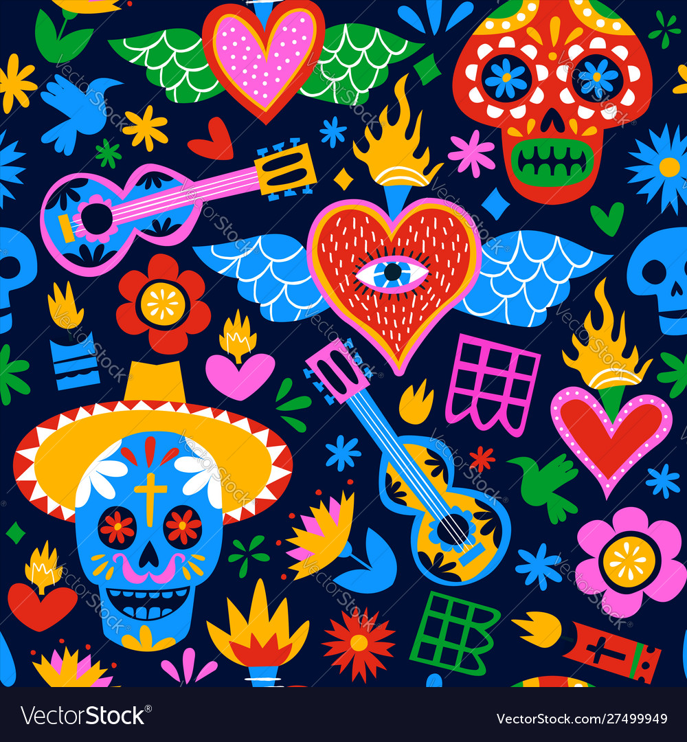 Day dead mexican cartoon background pattern