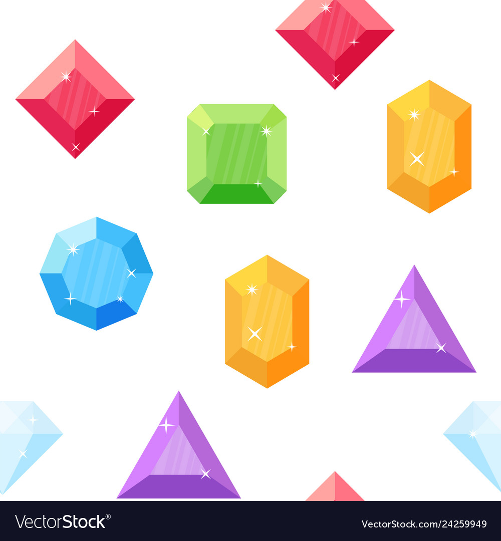 Diamonds in various shapes seamless pattern