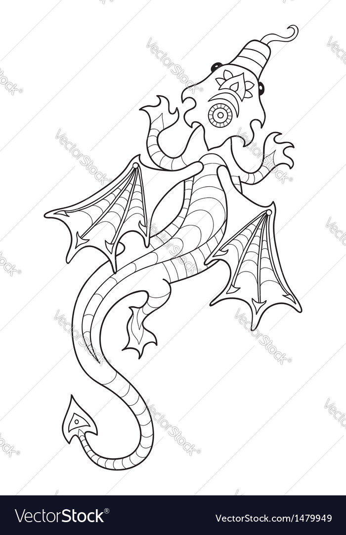 Drawing a dragon in cartoon style