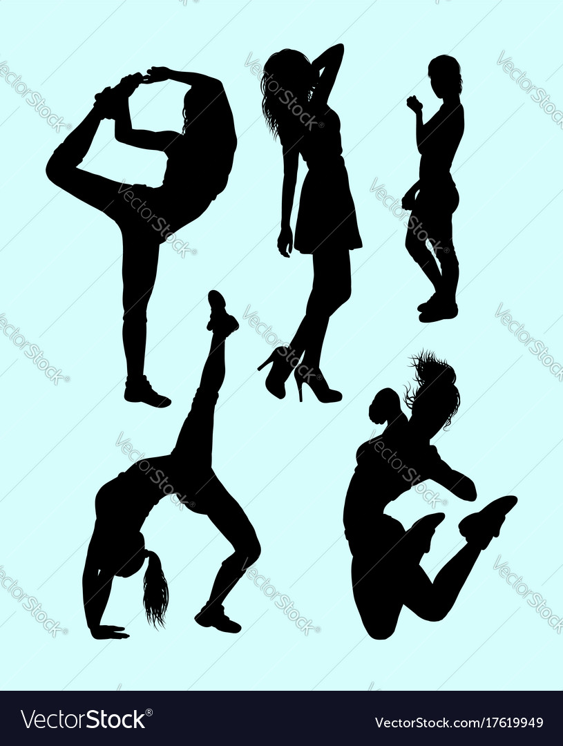 Fitness attractive girl sport silhouette vector image