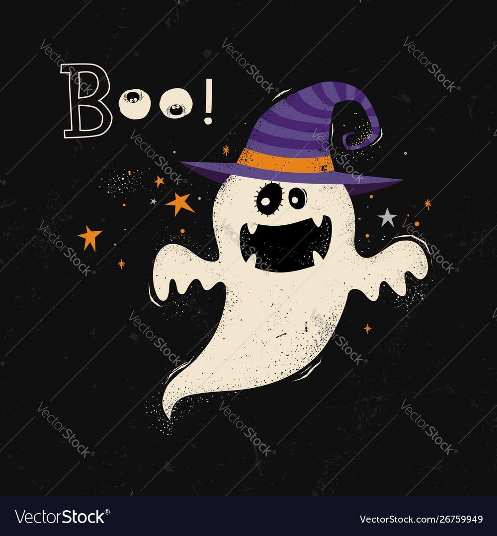 Happy halloween card with ghost cartoon
