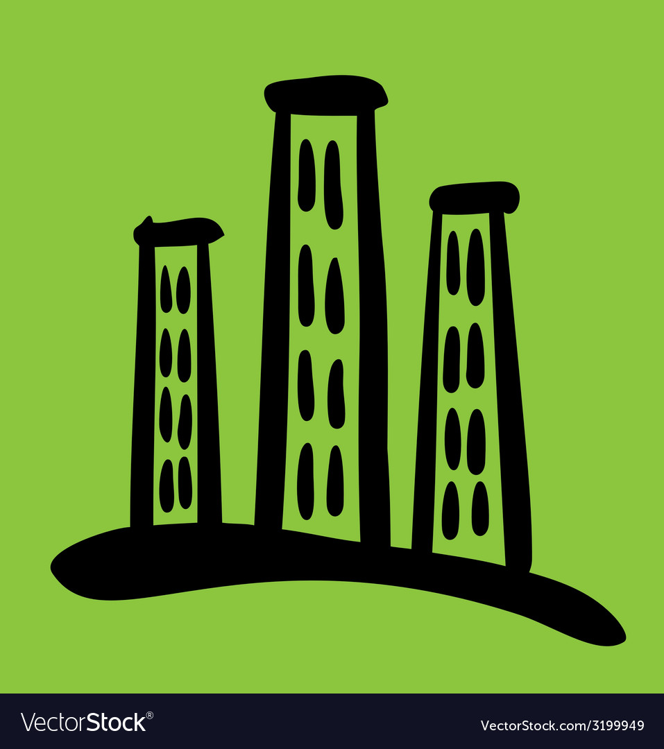 High Riser House sketch on green background vector image