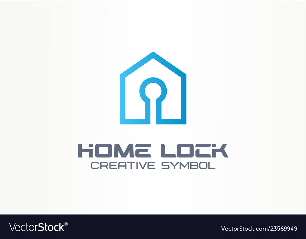 Home lock creative symbol concept security access