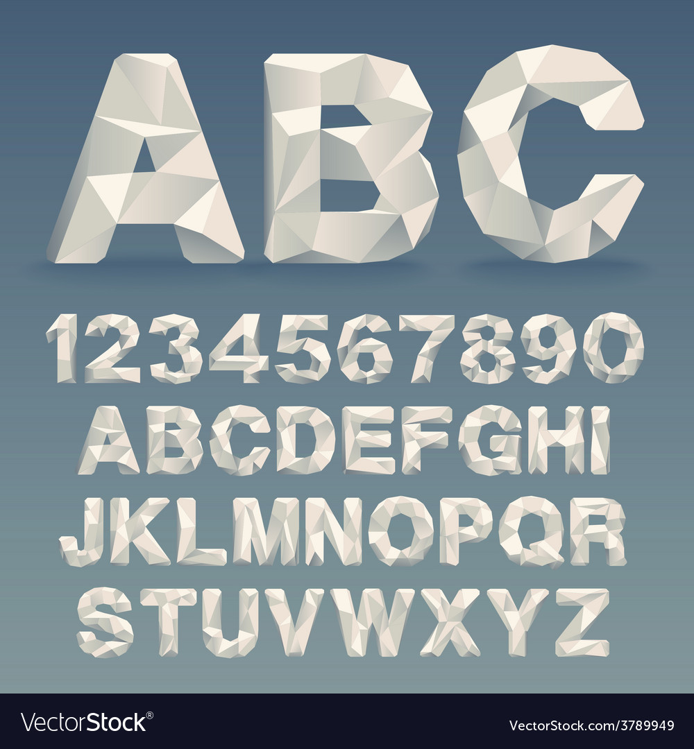 Lowpoly Font vector image