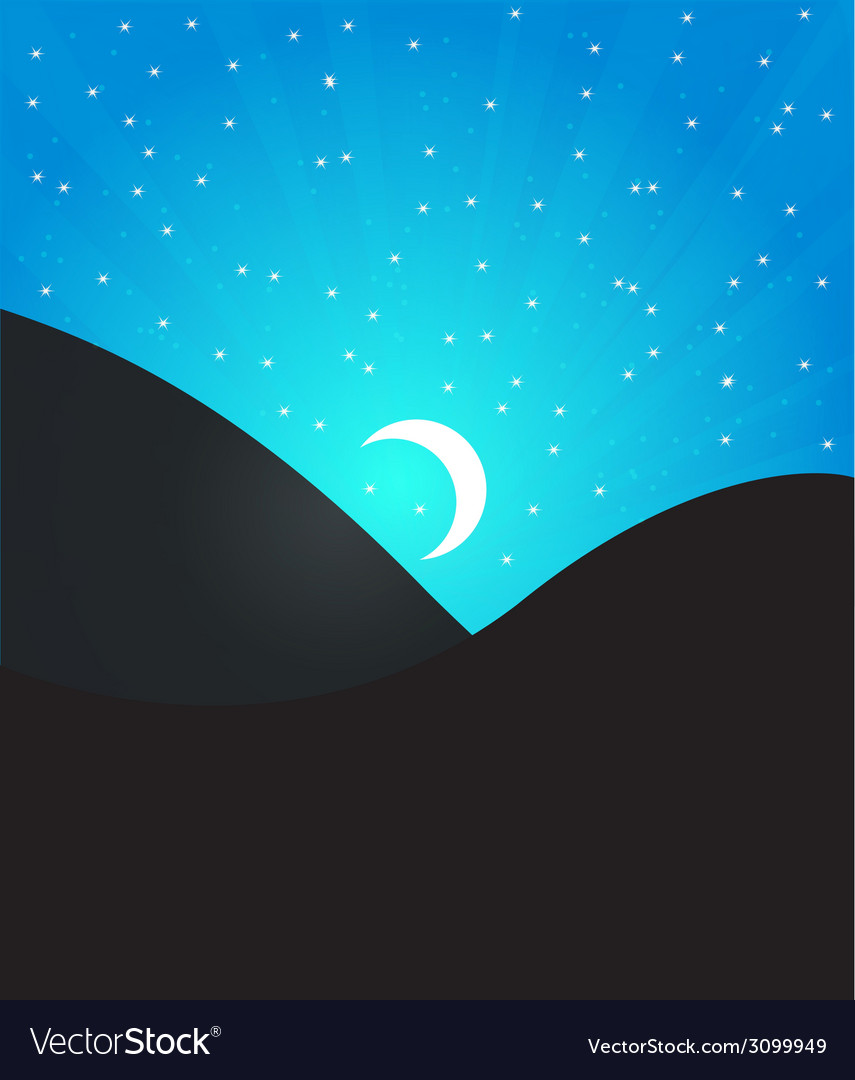 Night landcape with moon and stars