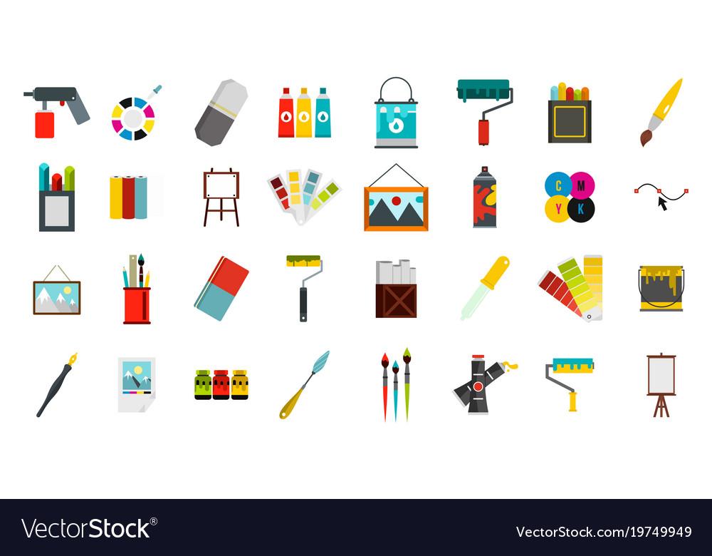 Painter tools icon set flat style