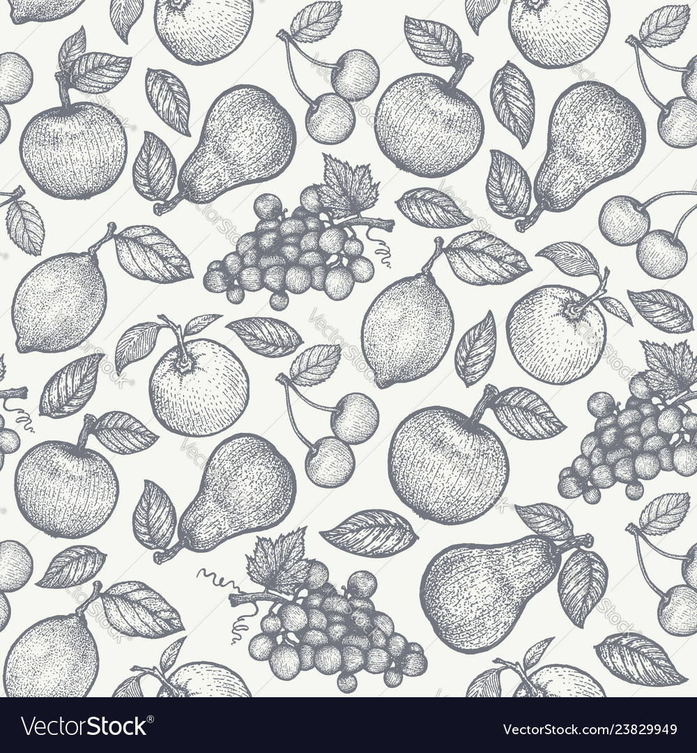Retro pattern with fruits