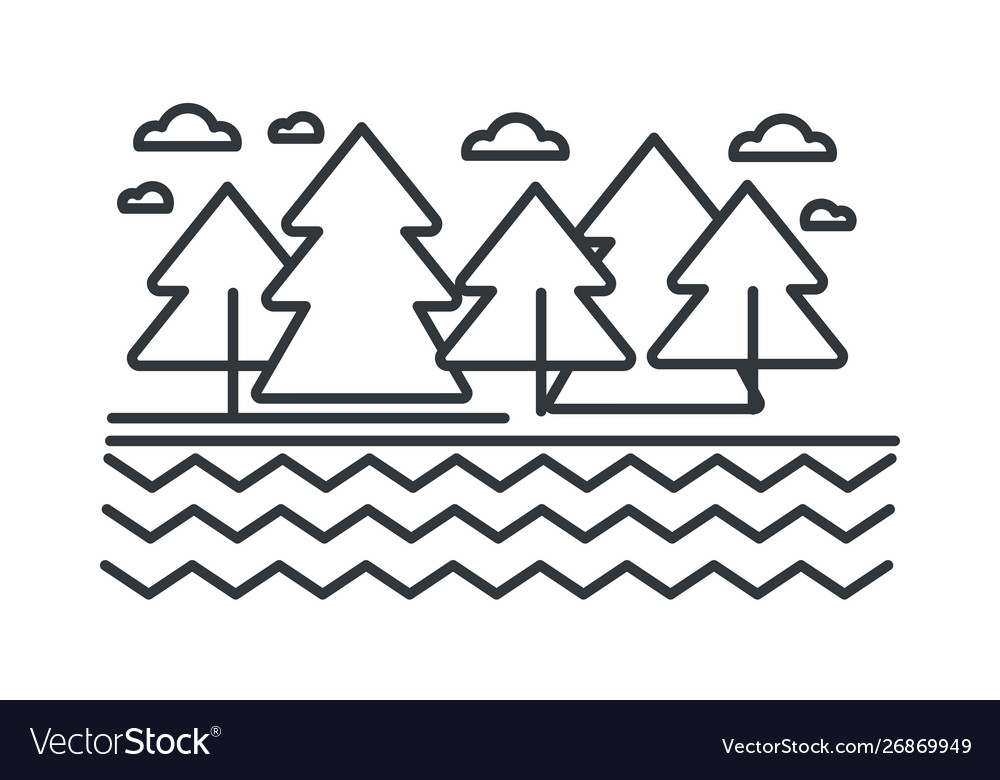 River or lake and trees landscape and wild forest