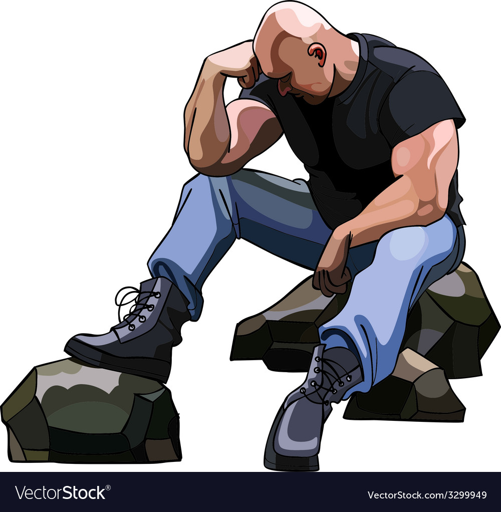 Sad big bald man sitting on the rocks vector image