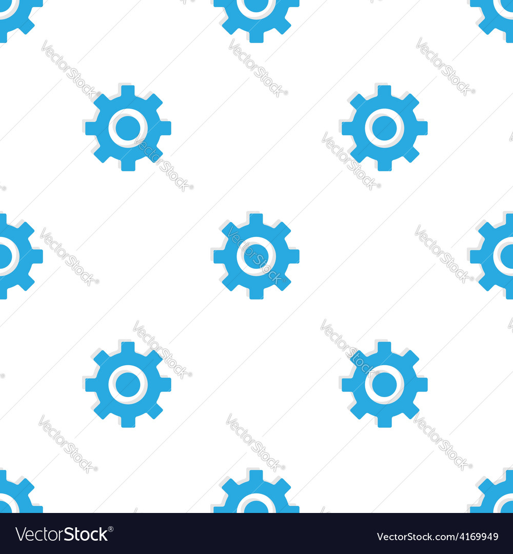 Seamless pattern with blue gears