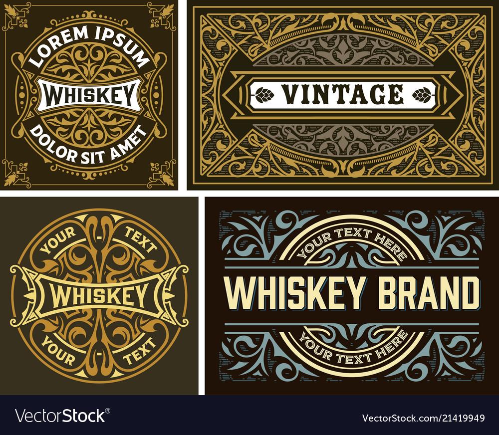 Set of 4 vintage label whiskey label style