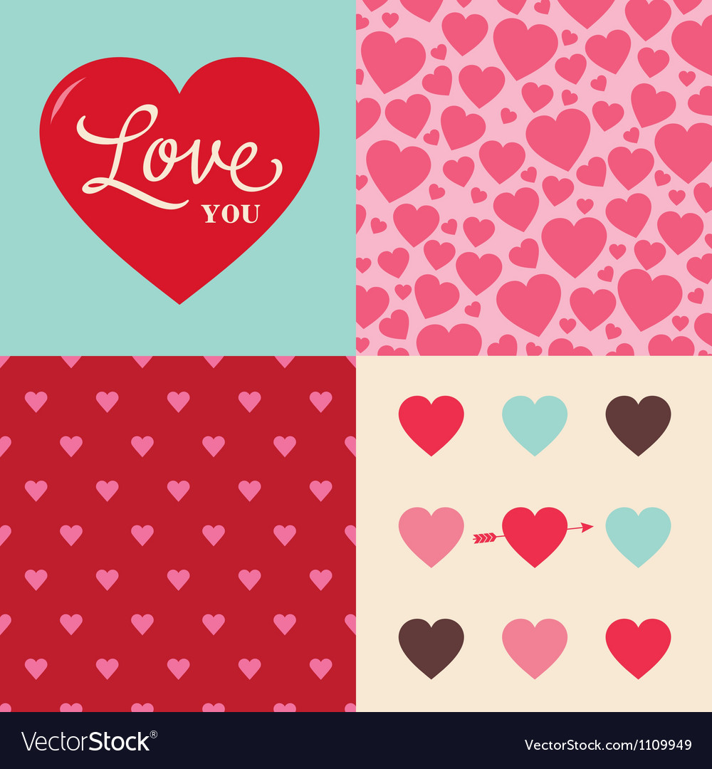 Set of heart pattern background for valentines day vector image