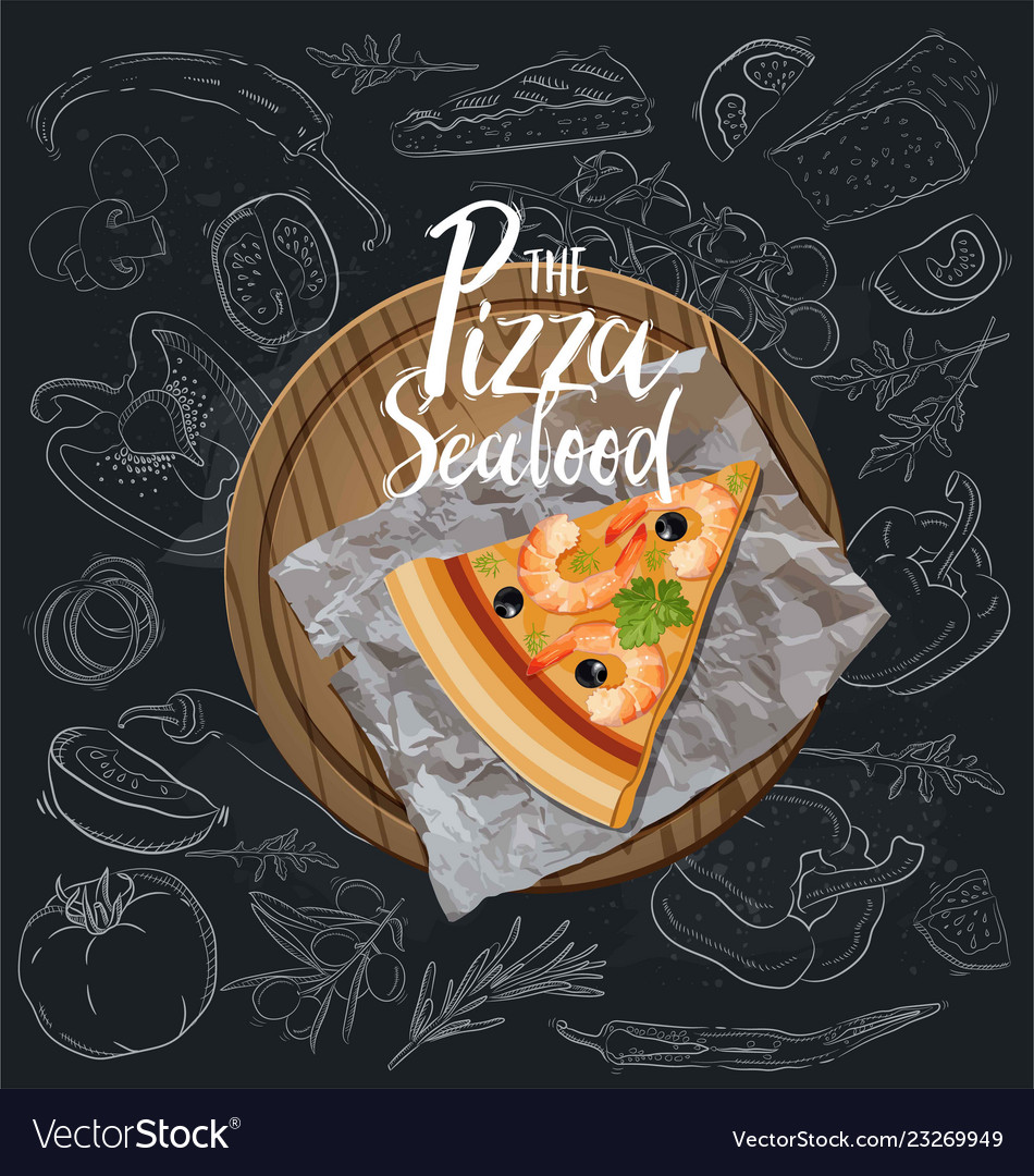 The seafood pizza slice with background
