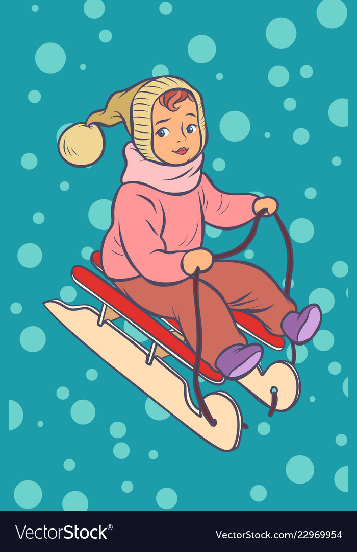 Child on a sled winter holiday