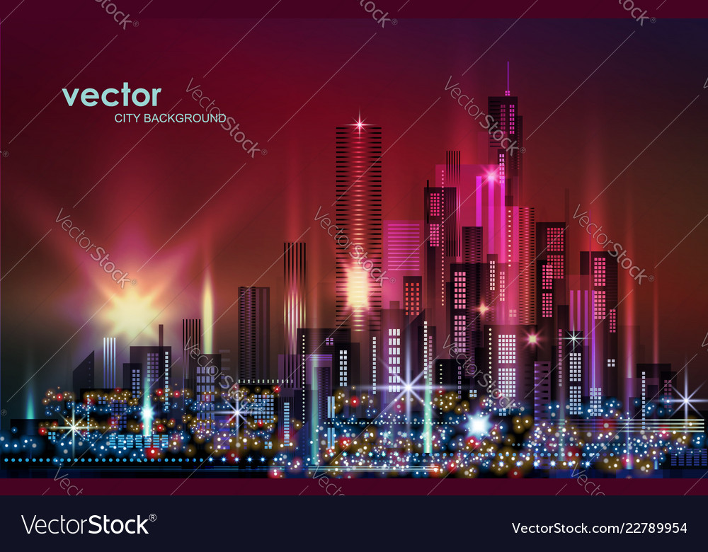 City skyline night cityscape with illuminated