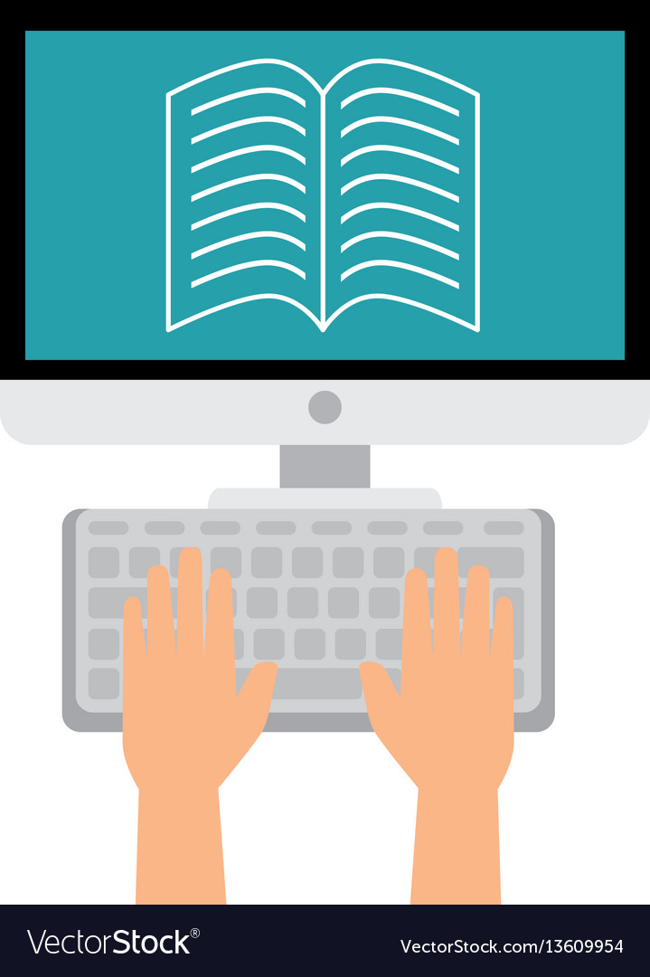 Computer desktop with ebook isolated icon vector image