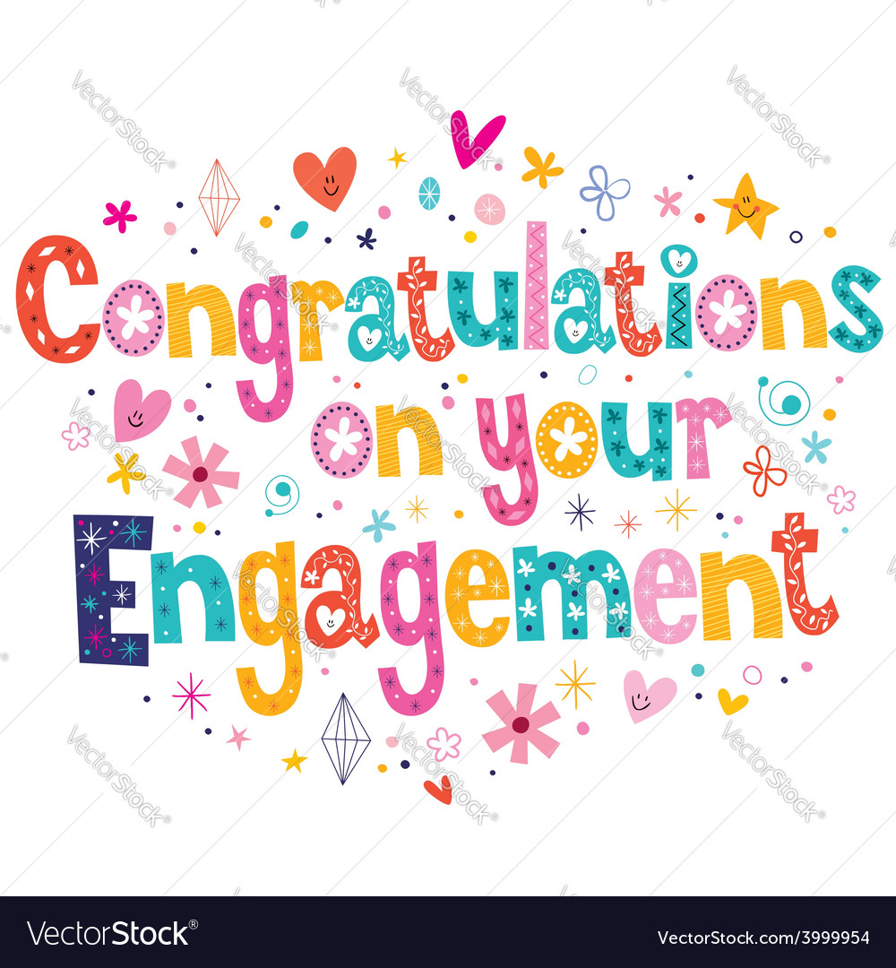 Congratulations on your engagement card Royalty Free Vector