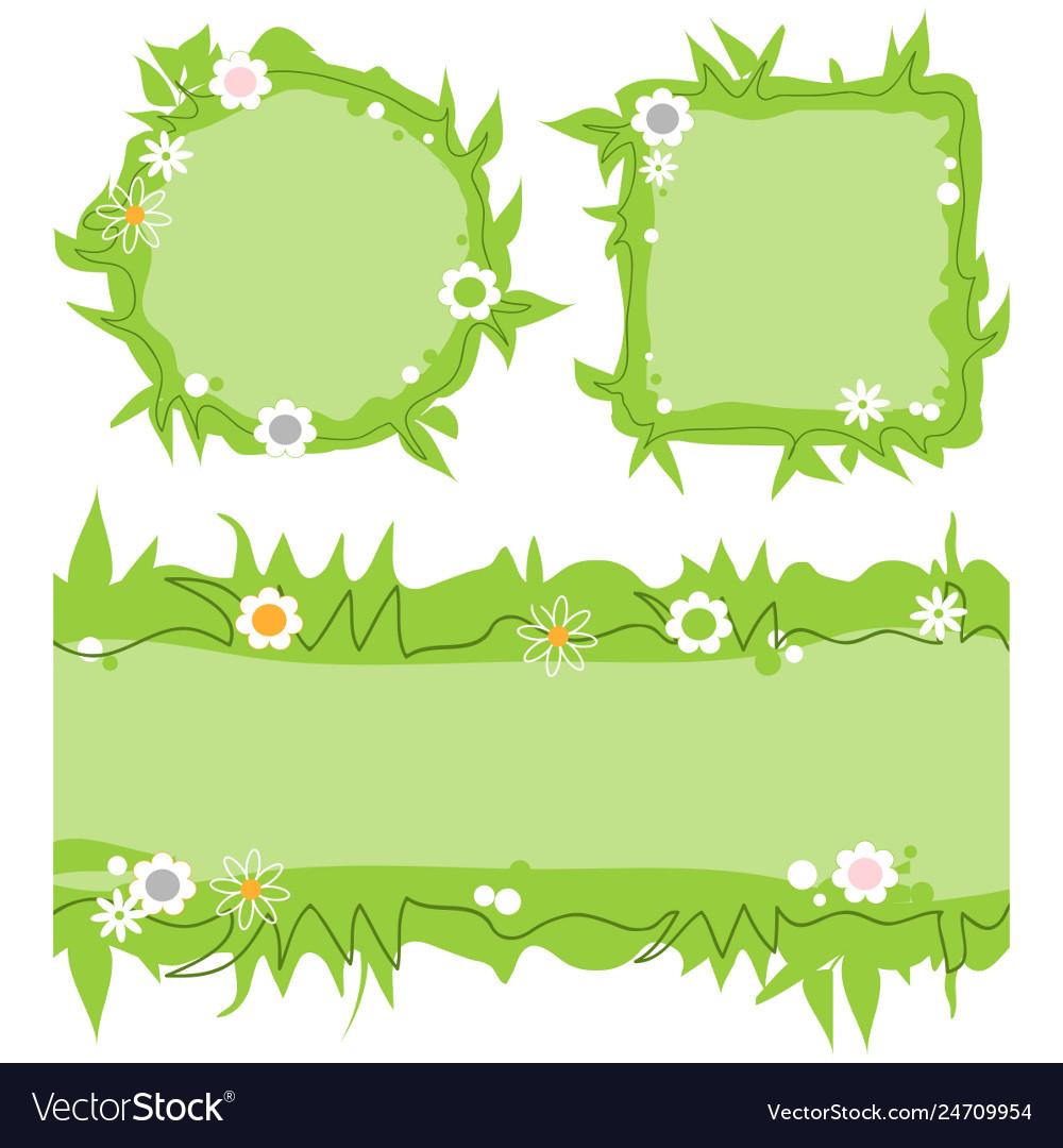 Cute decorative frames set green grass nature
