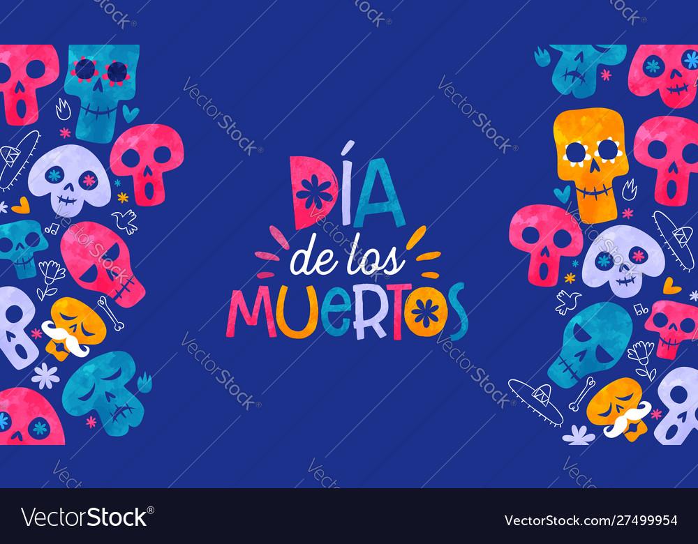 Day dead mexican sugar skull spanish card