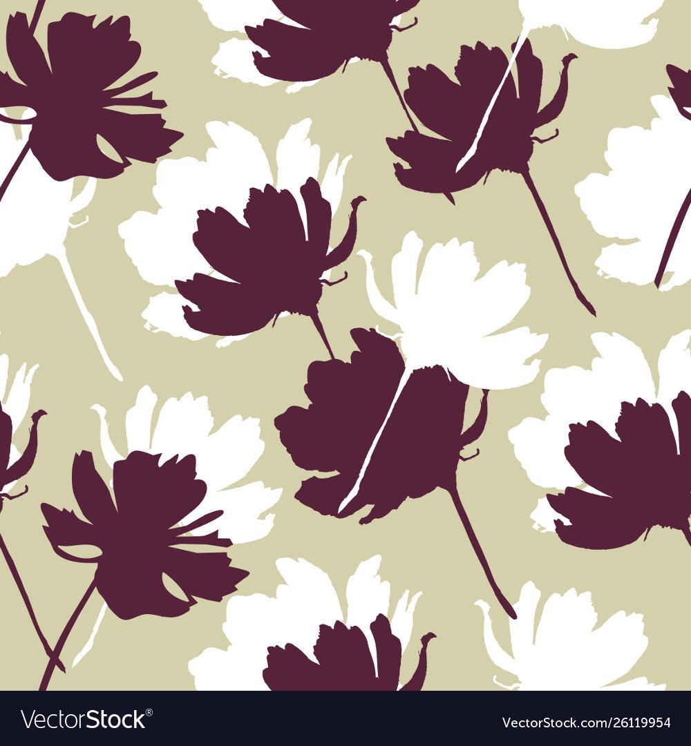 Flowers seamless pattern cute simple botanical