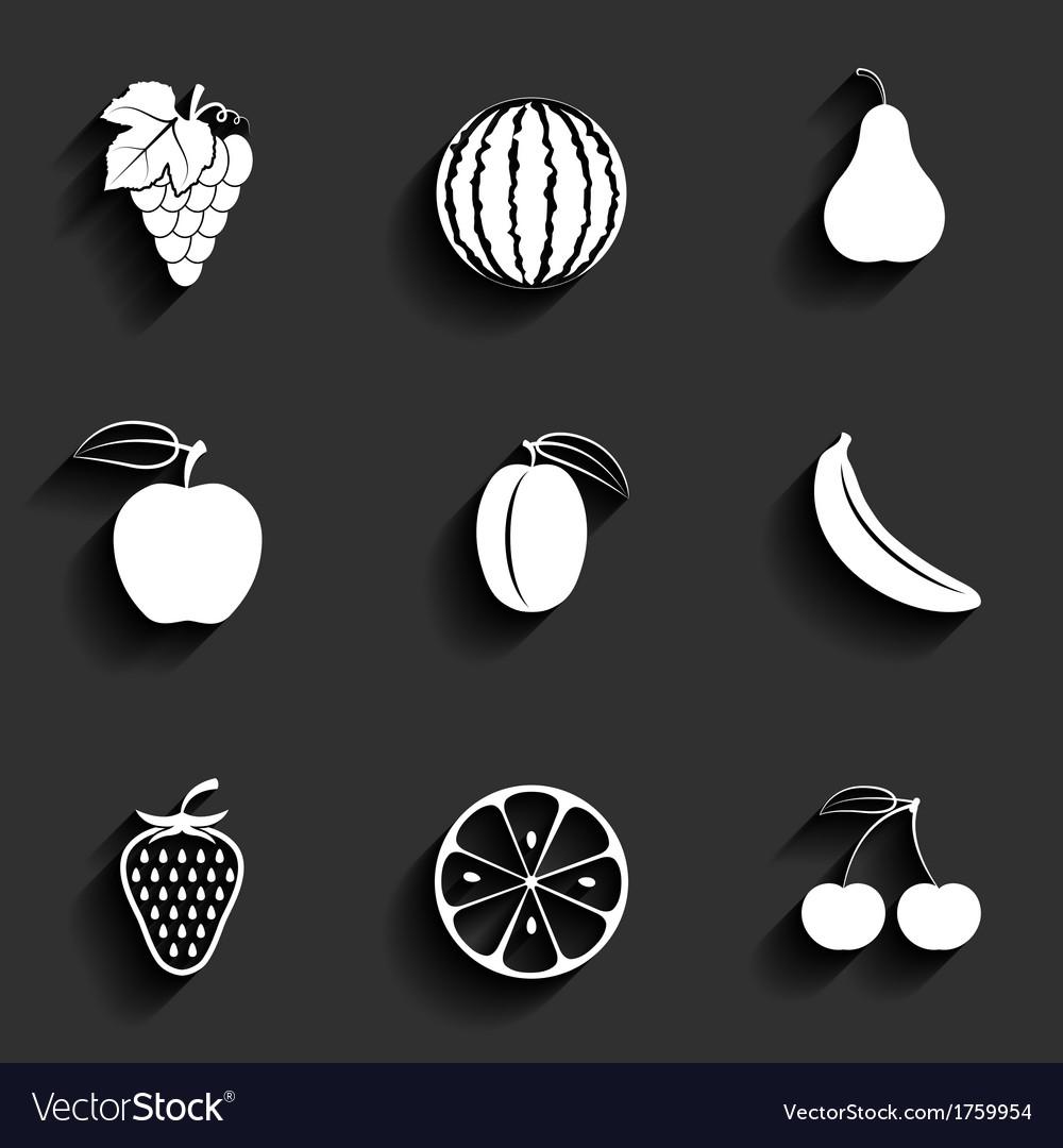 Fruits flat icon set vector image