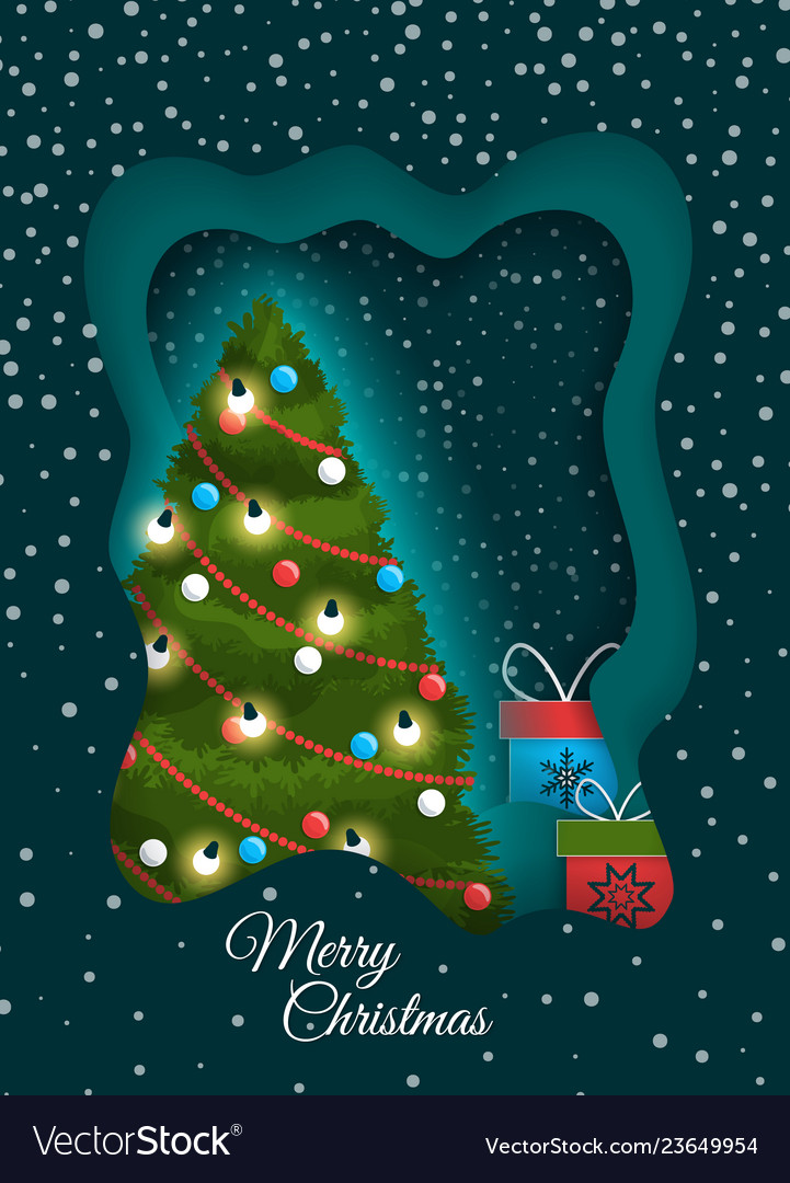 Greeting merry christmas with fir-tree