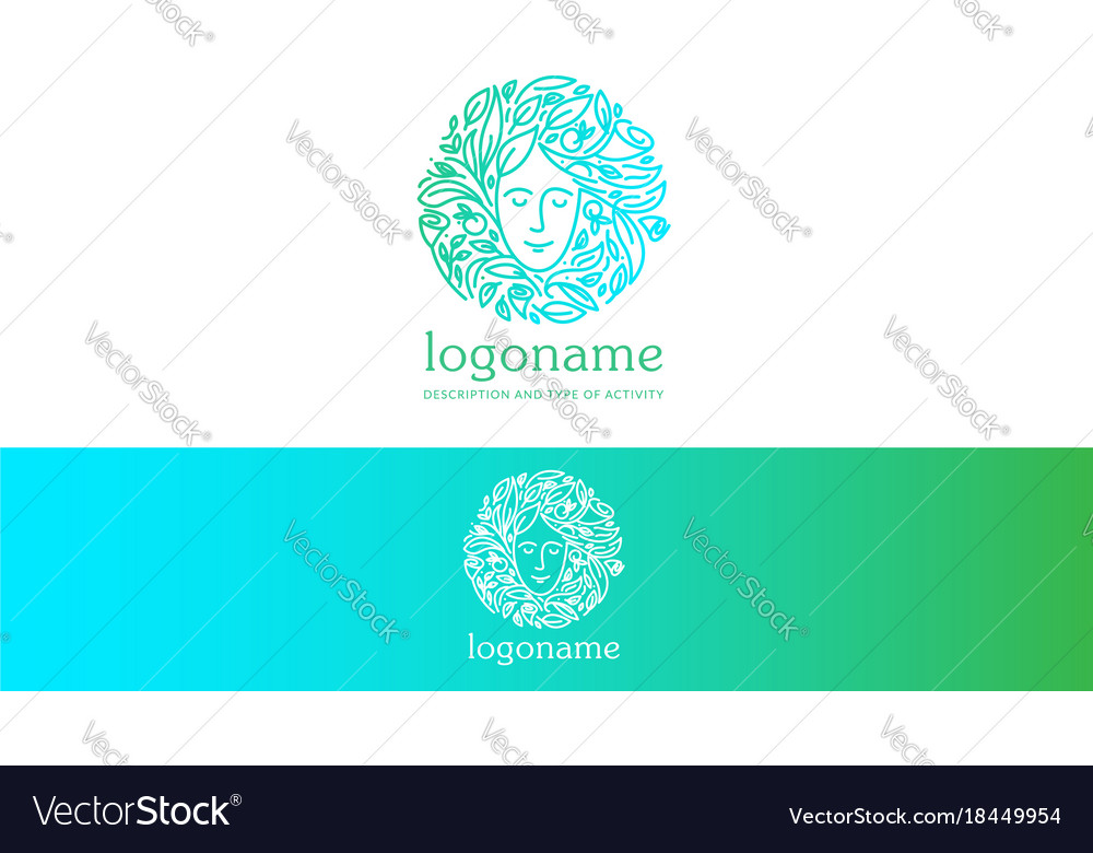 Natural woman logo vector image