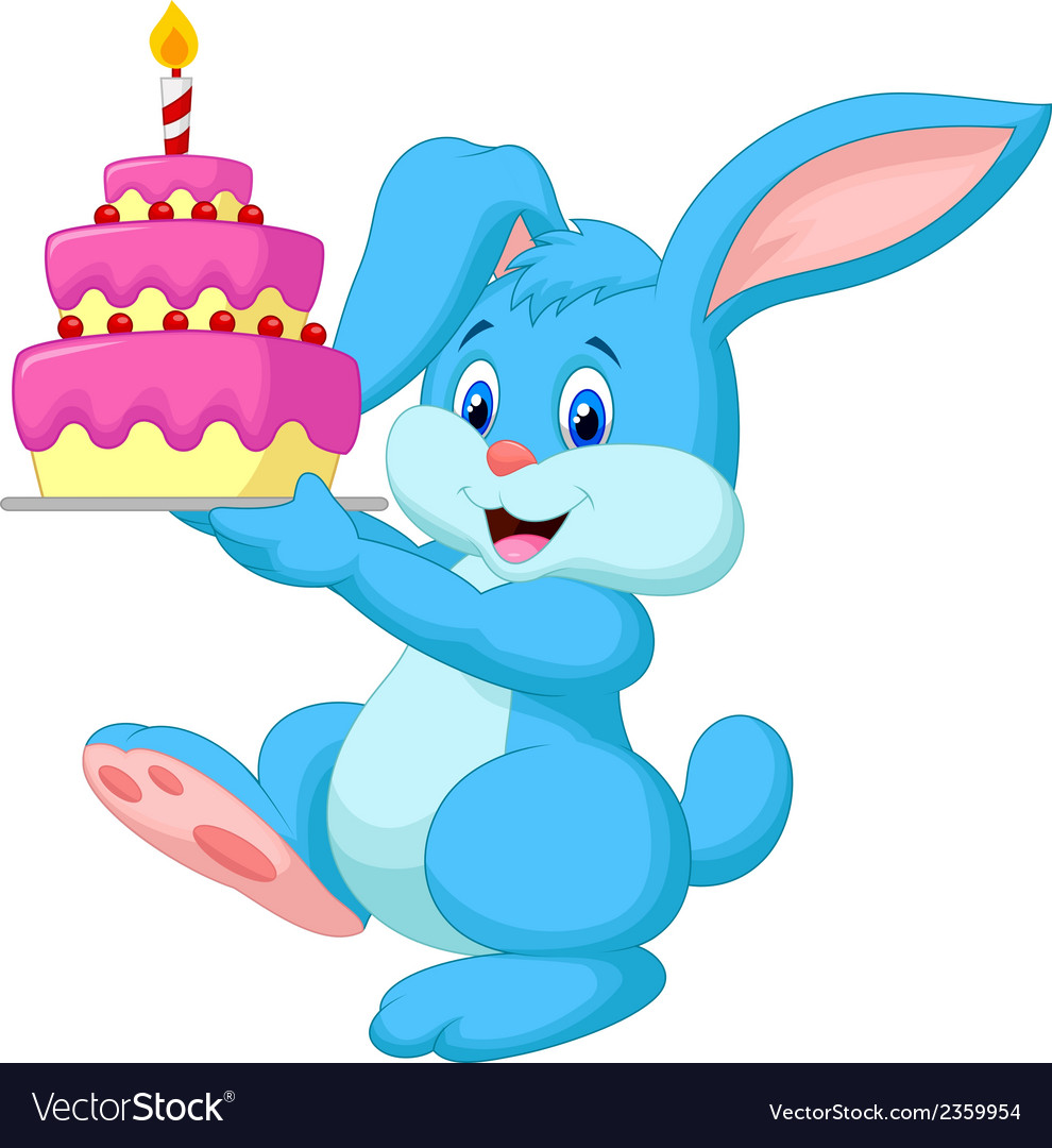 Rabbit Cartoon With Birthday Cake Vector Image