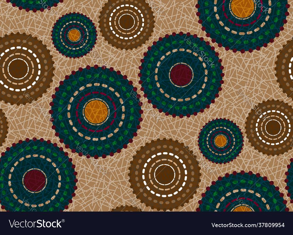 Seamless african wax print fabric ethnic flowers