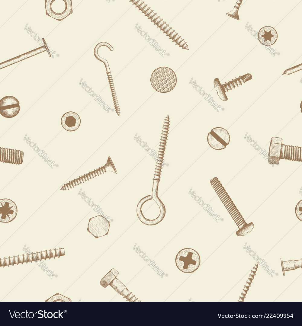 Seamless pattern of industrial fasteners