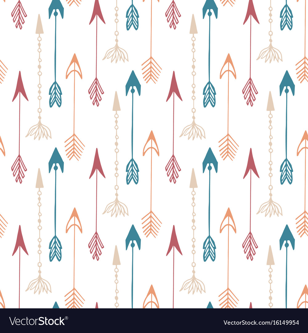 Seamless pattern of vintage arrow hand drawn