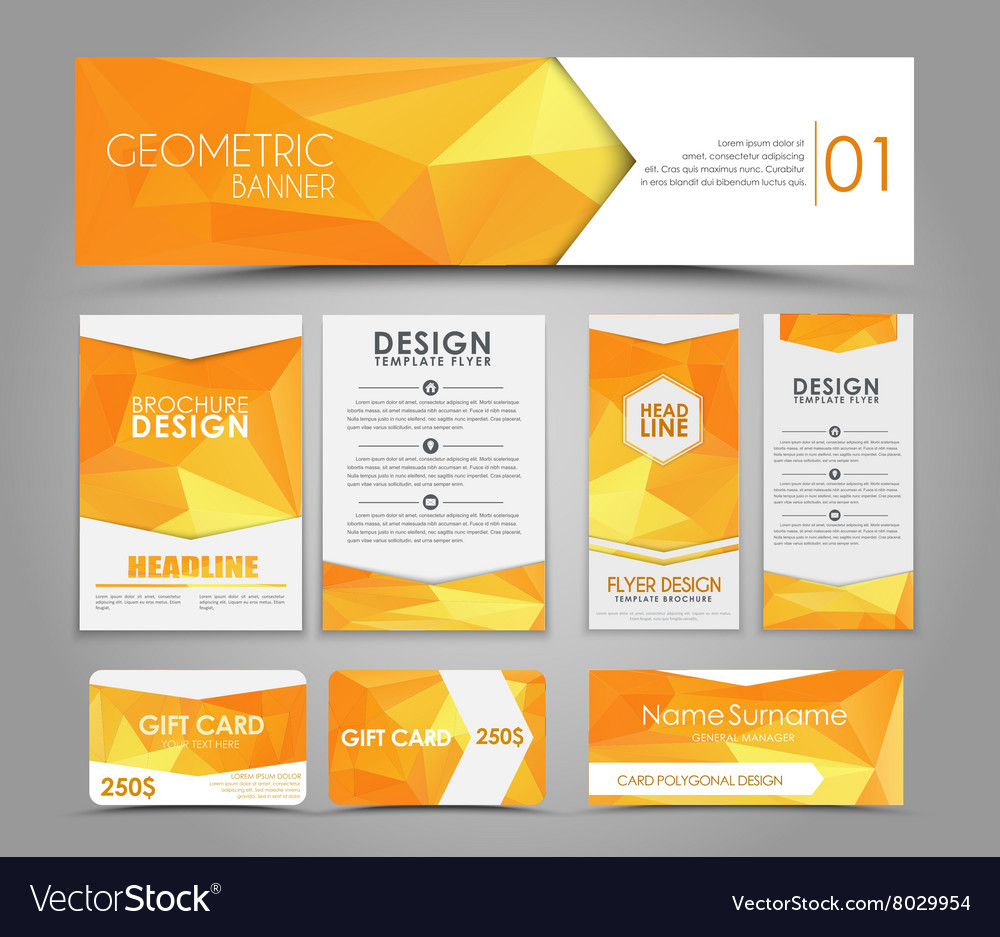 Set of orange corporate style polygonal vector image