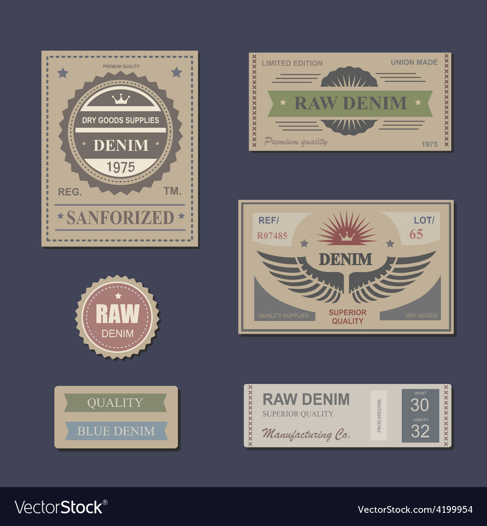 Vintage Labels denim typography t-shirt